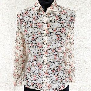 ANN TAYLOR Silk Cream Floral Long-Sleeved Blouse
